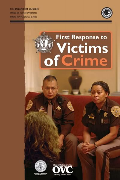 Cover of the guidebook, First response to victims of crime