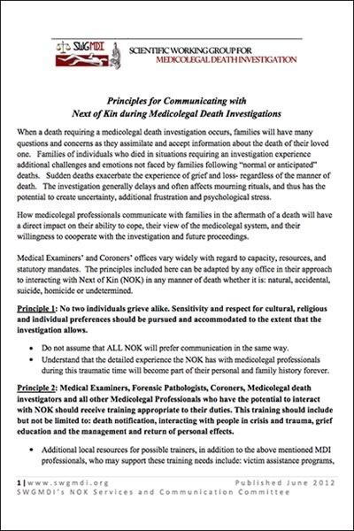 Cover of the paper, Principles for Communicating with Next of Kin during Medicolegal Death Investigations